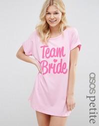 Футболка для сна с принтом Team Bride ASOS PETITE BRIDAL - Розовый
