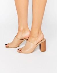 Кожаные туфли без задника с контрастным каблуком Park Lane