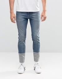 Синие джинсы скинни со вставками ASOS - Умеренный синий