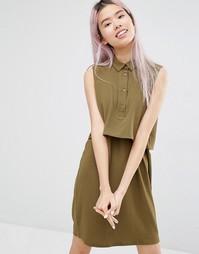 Двухслойное платье‑рубашка Monki - Зеленый