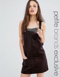 Вельветовое платье-комбинезон с карманами Glamorous Petite