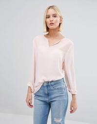 Блузка с полупрозрачной вставкой Selected - Розовый