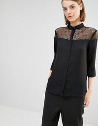 Рубашка с кружевной кокеткой Selected Daryn - Черный