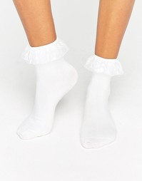 Носки с полупрозрачными рюшами Monki - Белый