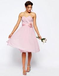 Шифоновое платье бандо миди ASOS WEDDING - Телесный