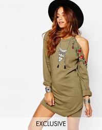 Платье в стиле милитари с открытыми плечами Milk It Vintage - Хаки
