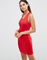 Платье миди с ярусными бретельками AX Paris - Красный