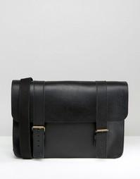 Изготовленный в Англии кожаный портфель ASOS - Черный