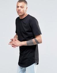 Удлиненная футболка с закругленным низом и вышитым логотипом Antioch