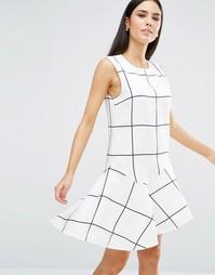 Платье с баской Stylestalker Monumental - Принт в клетку