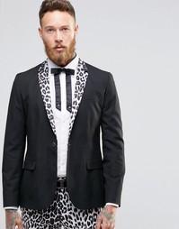 Облегающий блейзер с леопардовым принтом на лацканах Religion - Черный