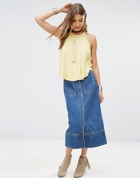 Free People Just A Dream Long Denim Skirt - Rory