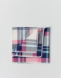 Квадратный платок для пиджака в клетку в коробке 7X - Розовый