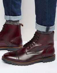 Кожаные ботинки на шнуровке Base London Siege - Красный