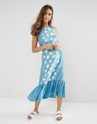 Цельнокройное платье с принтом YMC - Нежно-голубой