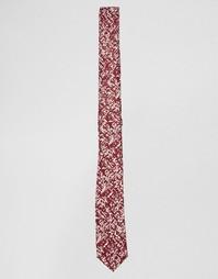 Бордовый узкий галстук с принтом в виде зарисовки ASOS - Burgundy