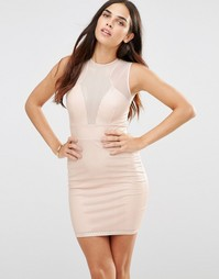 Платье с вырезным узором и сетчатыми вставками TFNC - Розовый