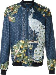куртка-бомбер с принтом павлина Dolce & Gabbana