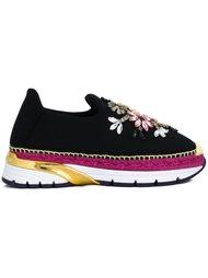 декорированные кроссовки-слипон  Dolce & Gabbana