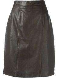 кожаная юбка Chanel Vintage