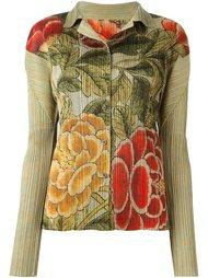 плиссированная рубашка с цветочным принтом Issey Miyake Vintage