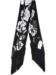 floral print fringed scarf Rockins