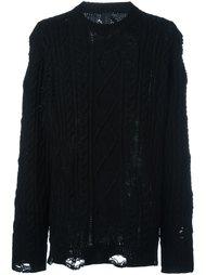 трикотажный свитер с потертой отделкой Mihara Yasuhiro