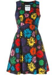 расклешенное платье с цветочным принтом Moschino