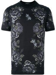 футболка с принтом роз Dolce & Gabbana
