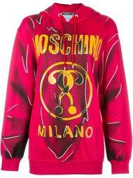 trompe l'oeil logo hoodie Moschino