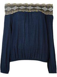 блузка с вышивкой и открытыми плечами Tory Burch