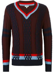 striped trim v-neck jumper Kenzo