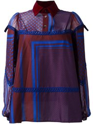 multi-pattern longsleeved blouse Sacai