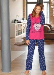 Пижама (горячий ярко-розовый с рисунко) Bonprix