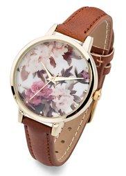Часы с цветочным мотивом (бордовый) Bonprix