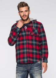 Рубашка Regular Fit на ватной подкладке (красный в клетку) Bonprix
