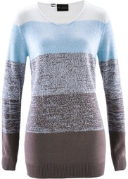 Пуловер с кашемиром ПРЕМИУМ (нежно-розовый/серый меланж) Bonprix