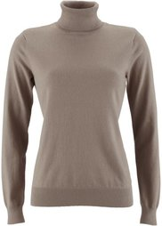 Пуловер с высоким воротником (черный) Bonprix