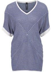 Пуловер О-образного покроя (черный/дымчато-серый в полоску) Bonprix