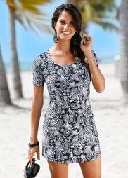 Пляжное платье из купального материала (черный/серый) Bonprix