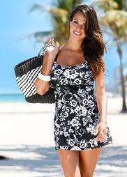 Купальное платье (черный/белый) Bonprix