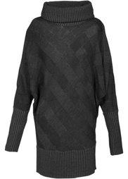 Удлиненный пуловер (антрацитовый меланж) Bonprix
