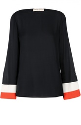 Шелковая блуза с вырезом-лодочка и контрастной отделкой Emilio Pucci
