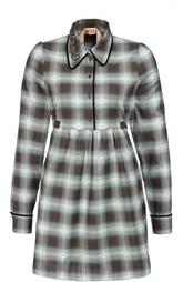 Платье-рубашка в клетку с завышенной талией и поясом No. 21