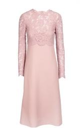 Приталенное платье-миди с кружевным лифом Valentino