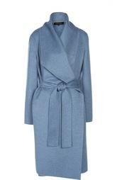 Кашемировое пальто асимметричного кроя с широкими лацканами и поясом Escada