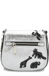Сумка-седло Gotham из металлизированной кожи с вышивкой Marc Jacobs