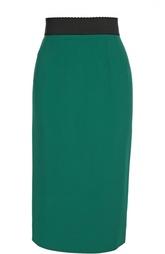Юбка-карандаш с контрастным широким поясом и разрезом Dolce & Gabbana