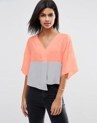 Укороченная блузка в стиле колор блок ASOS - Мульти