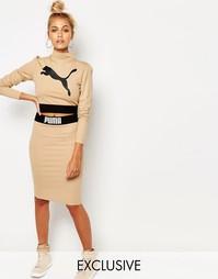 Комбинируемая облегающая юбка цвета кэмел Puma - Бежевое шампанское